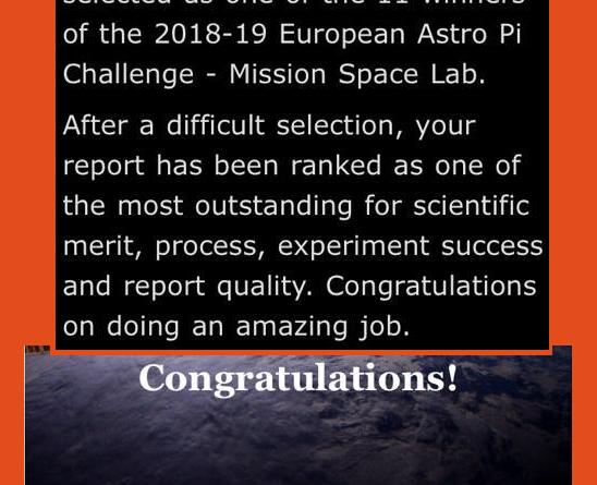 ¡¡¡ Ganamos la Competición Astro Pi !!!